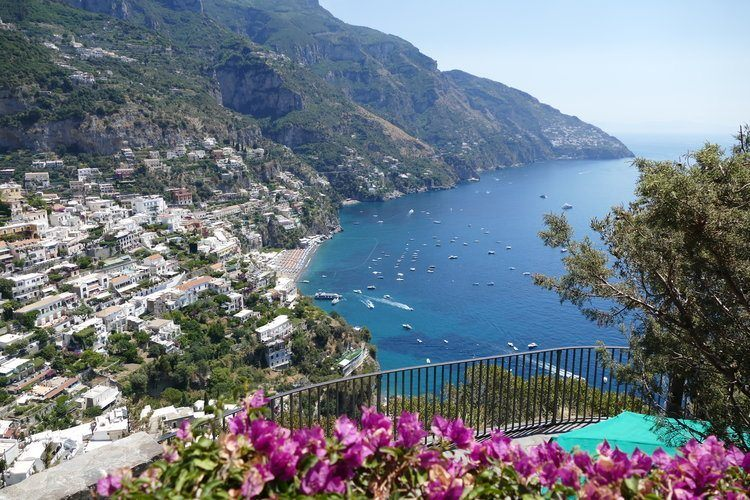 the most picturesque town on the Amalfi Coast with a valley of houses leading down to the beach and sea