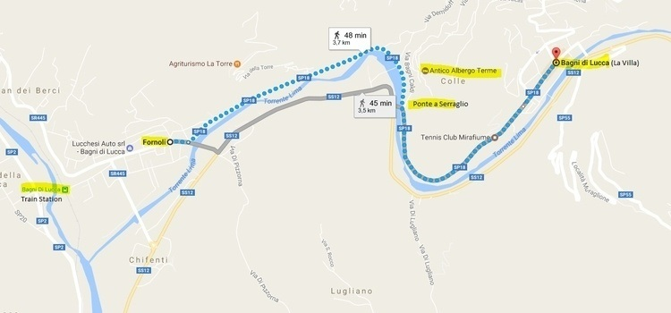 map showing route from Bagni di Lucca to Fornoli