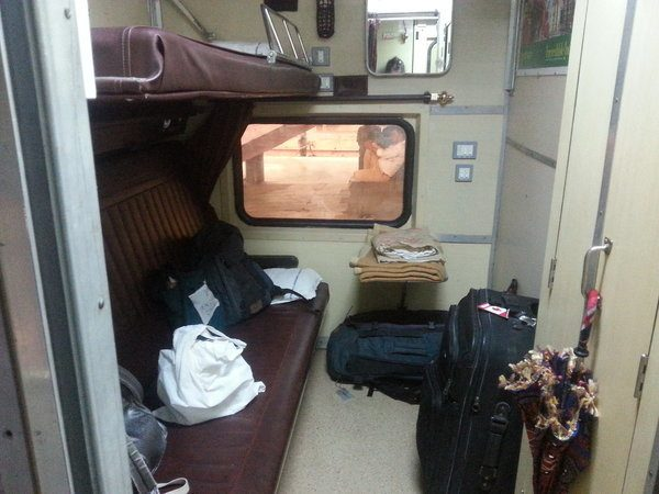 inside the fist class cabin of an indian train
