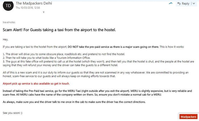 screenshot of an email warning about an airport scam alert india travel tips for first timers