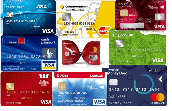 a collage of different banks credit cards