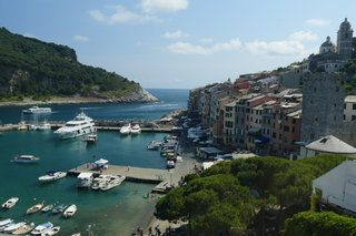view of an italian port town with boats docked and multi storey apartments