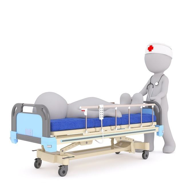 cartoon drawing of a nurse pushing a hospital bed with a patient laying on it.