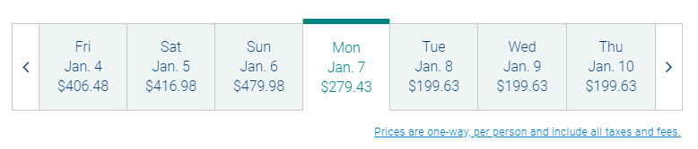 screenshot showing cheapest airfare for each day of the week