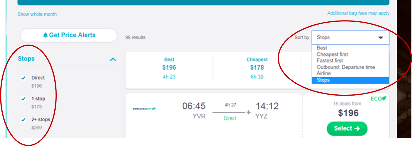 screenshot of skyscanner webpage search for cheap flight tickets