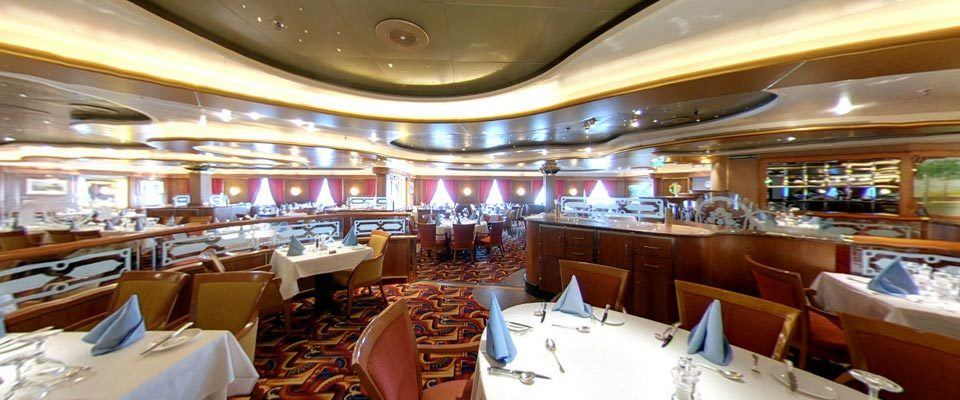 the dining room and bar on board a cruise ship