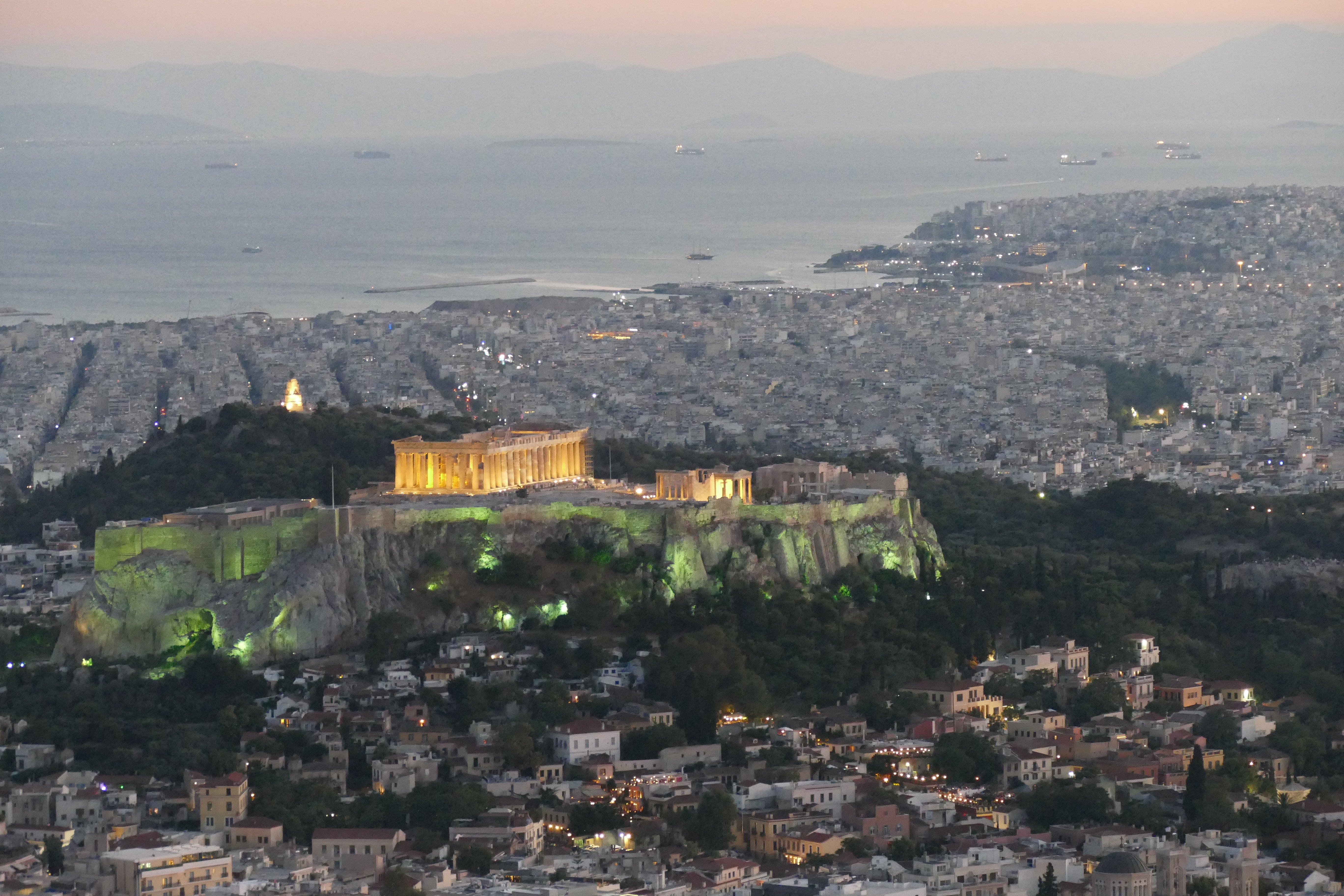evening shot of the acropolis taken from lycabettus hill