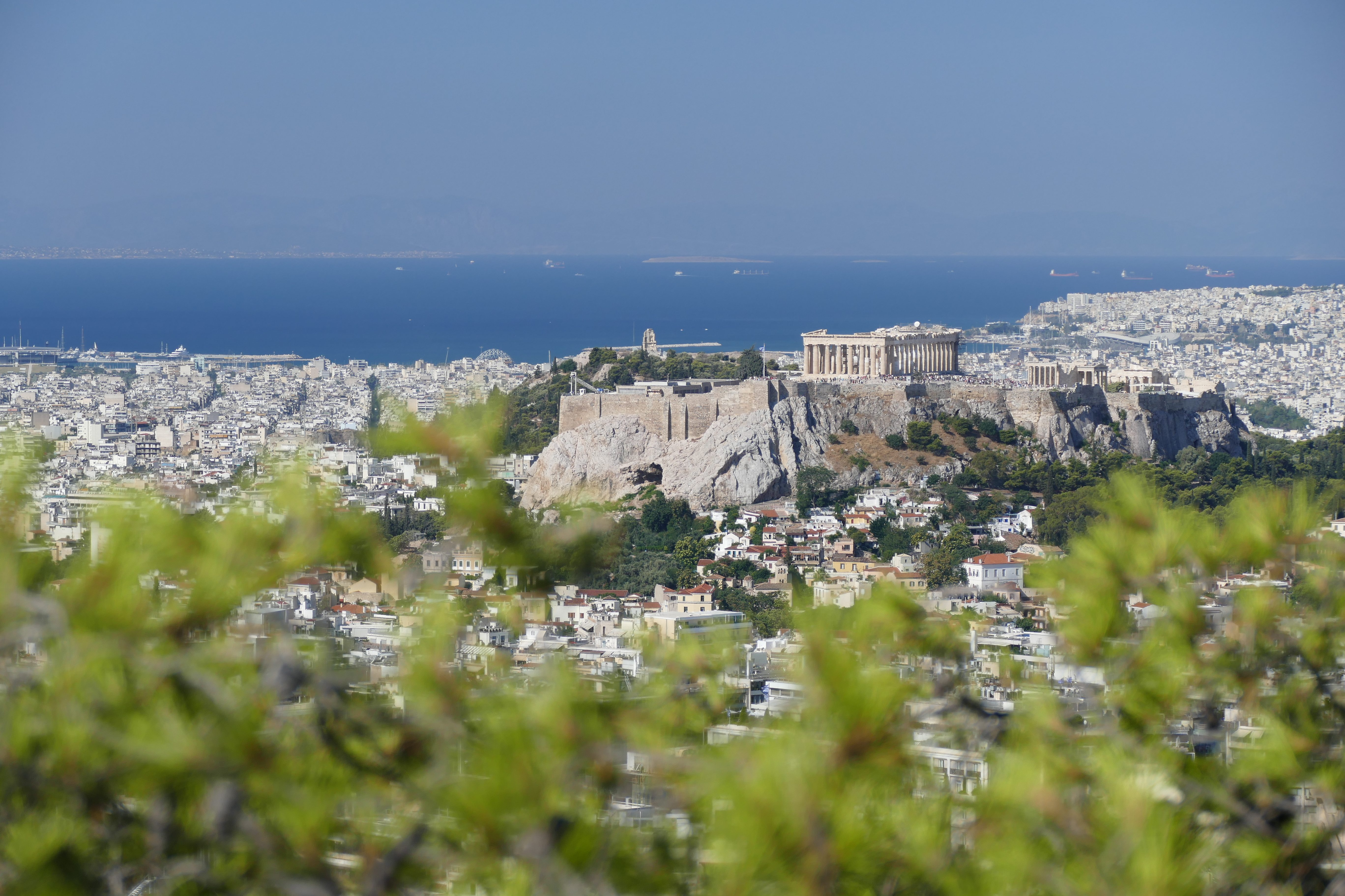 view of the acropolis half way down Lycabettus Hill