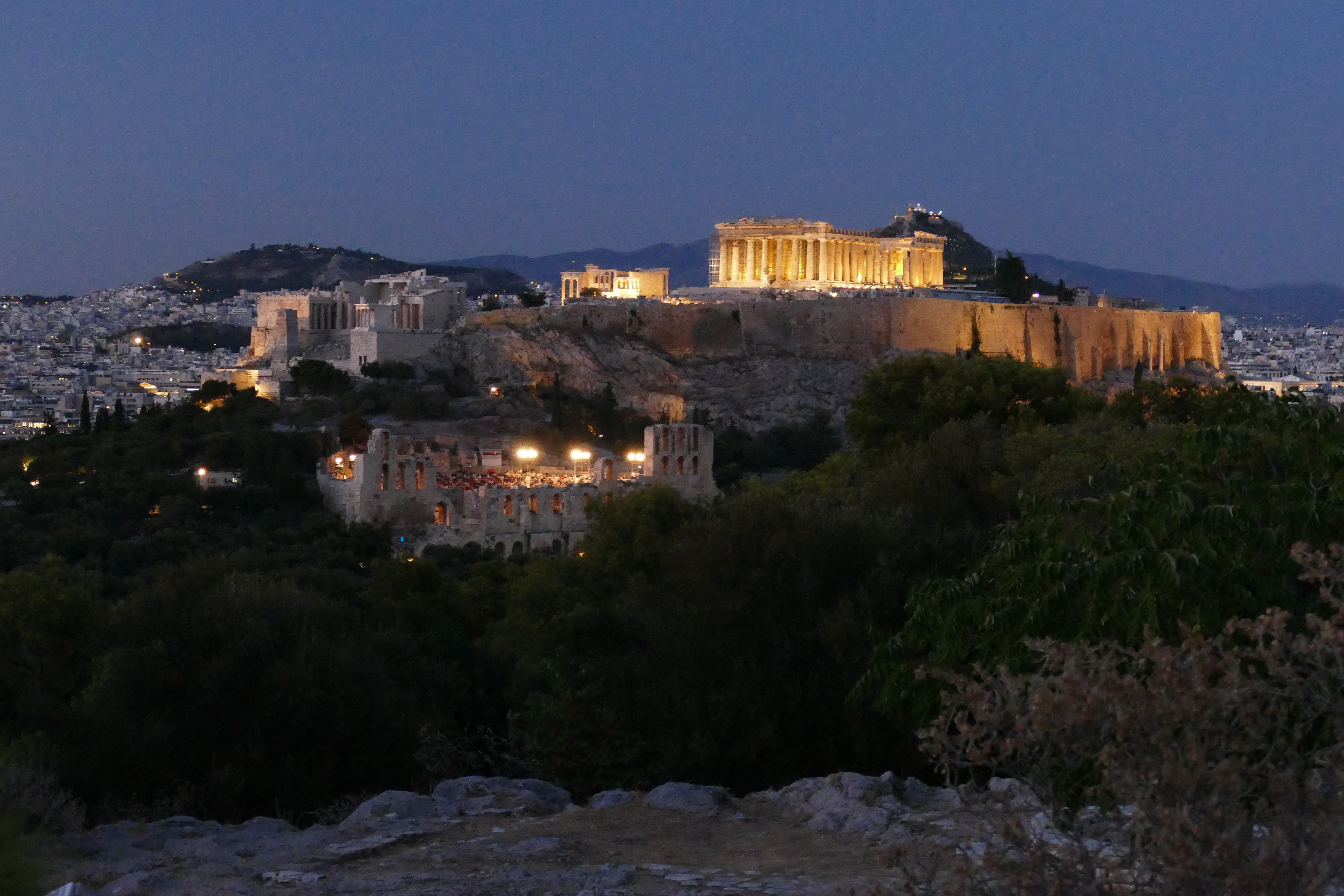 evening view of the acropolis taken from philopappos monument