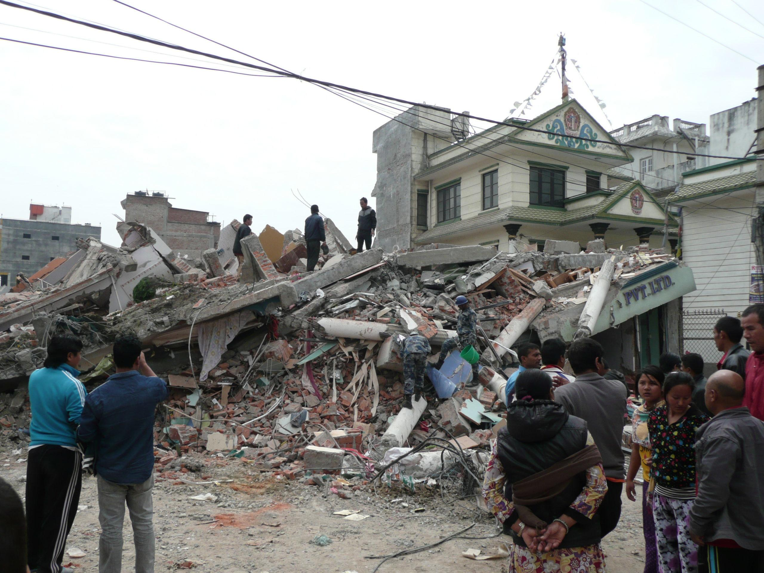 the Nepal earthquake caused this 3 storey store collapse into a heap of concrete rubble