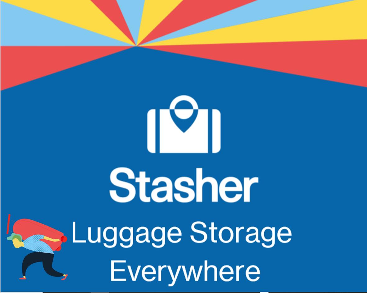 logo for stasher, a luggage storage company