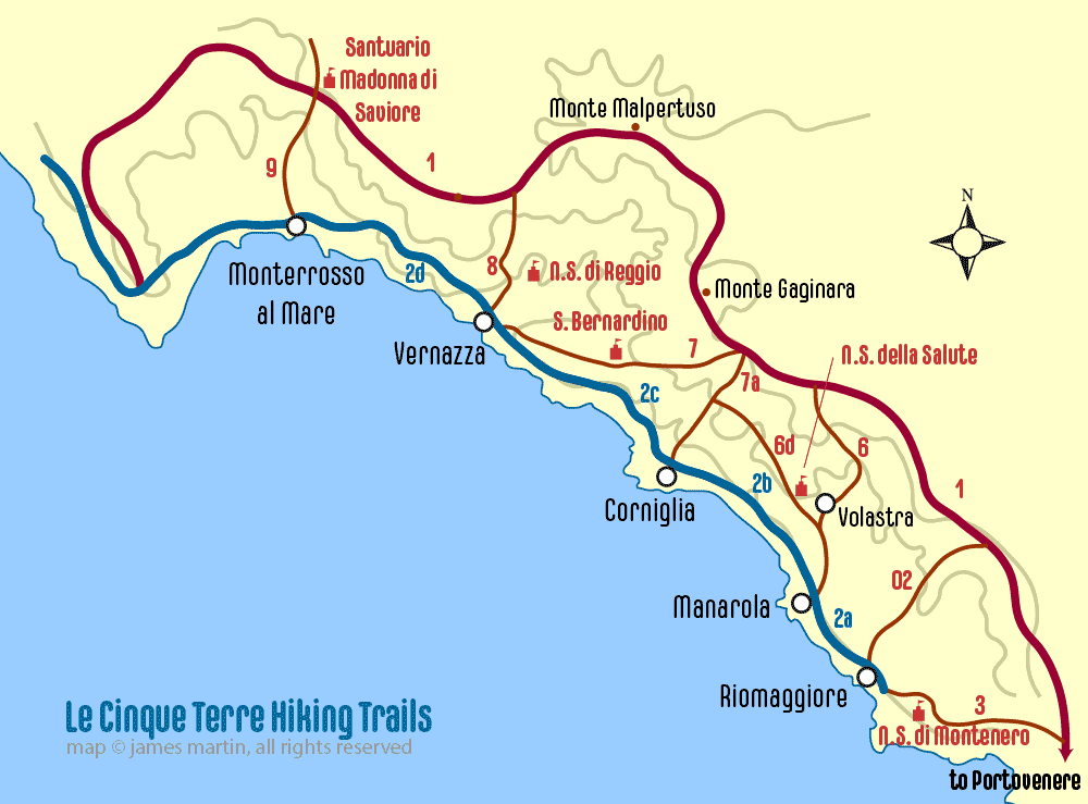 map of cinque terre hiking trail by James Martin
