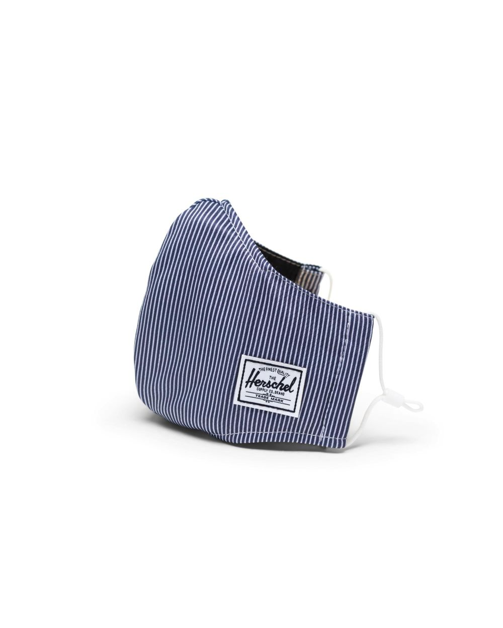 blue and white striped face mask
