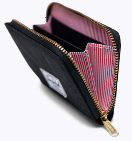 Unzipped wallet with red interior and black extorier