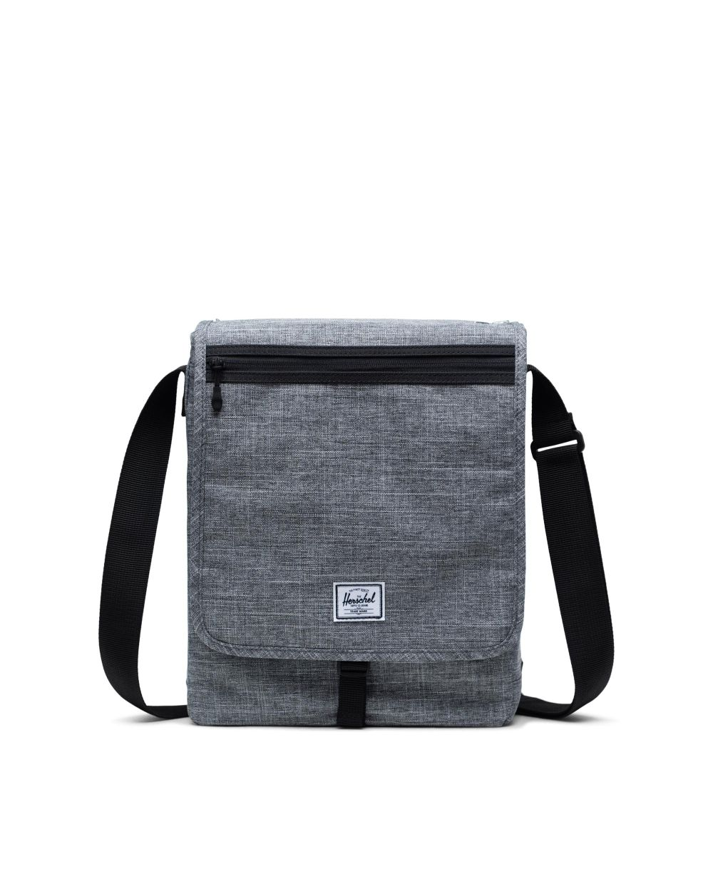 travel gift - small rectangular grey pouch bag with black strap