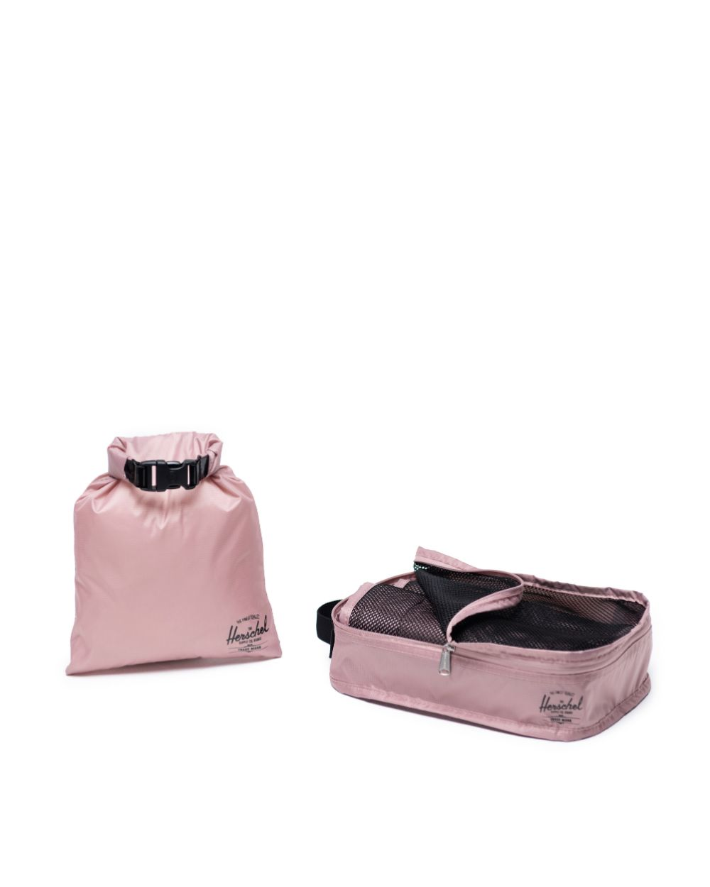 travel gift of dusty pink colour packing cudes with mesh top plus dry bag