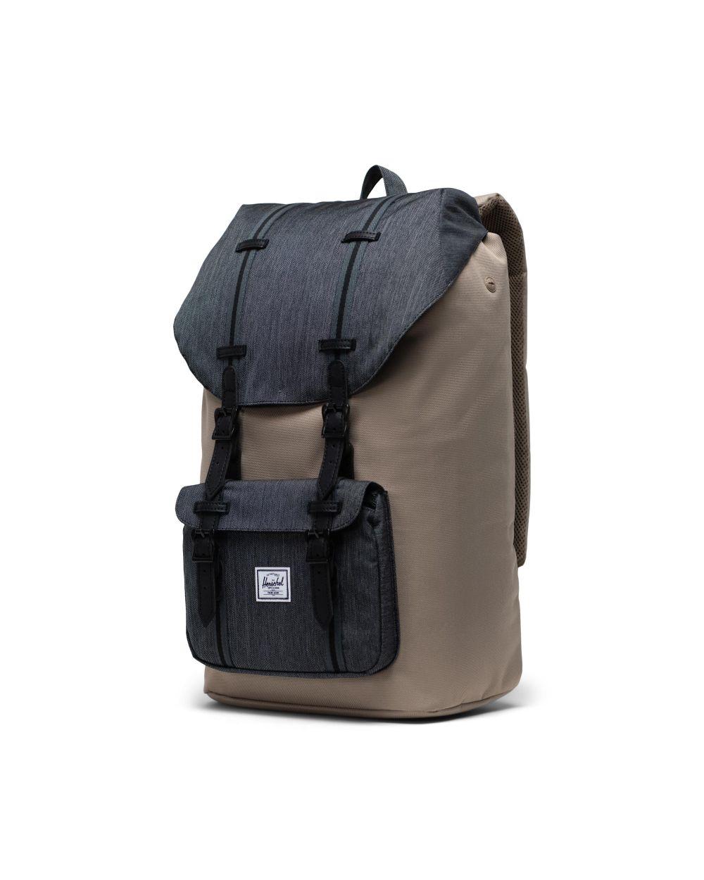 Herschel little america backpack in denim and beige