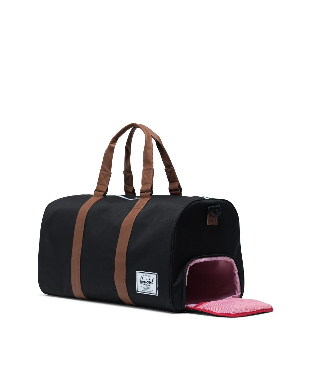 Novel duffle bag in black and tan with shoe compartment
