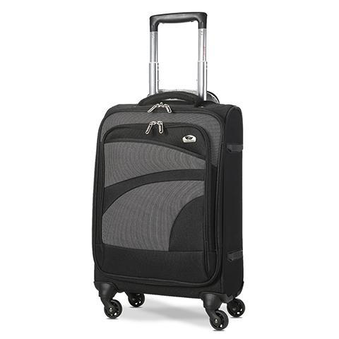 Aerolite lightweight soft shell cabin hand luggage in black and grey with wheels